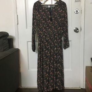 Old Navy Floral midi dress long sleeves NWOT